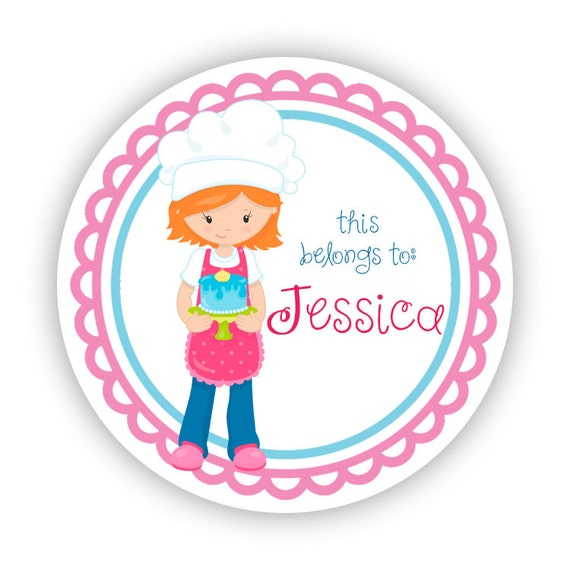 Name Label Personalized Stickers Pink Blue Baker Girl Cake Baking Name Tag Sticker Labels This Belongs To Back To School Name Labels