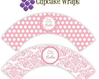 Damask Cupcake Wrappers - Simple Pink Damask and Polka Dot Personalized Birthday Party Cupcake Wraps - a Digital Printable File