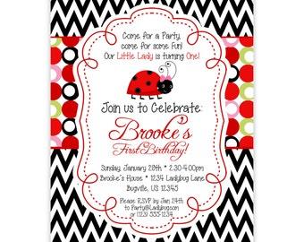 Ladybug Invitation - Black Chevron, Red, Pink, Lime Green Polka Dots Ladybugs Personalized Birthday Party Invite - a Digital Printable File