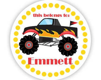 Name Label Stickers - Yellow Polka Dots, Black Monster Truck Personalized Name Tag Label Stickers - Round Tags - Back to School Name Labels
