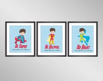 Superhero Wall Art - Blue Stripes, Insirational Kids Poster, Superhero Printable Nursery Wall Art Home Decor - Digital Printable Art Print