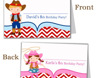 Cowboy Buffet Cards - Fun Red Chevron, Cute Blue Cowboy and Pink Cowgirl Personalized Birthday Party Name Cards - A Digital Printable File
