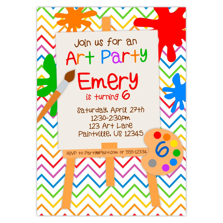 Invitación fiesta de arte Chevron de arco iris colores | Etsy