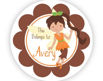 Name Tag Personalized Stickers - Brown Flower Fairy, Little Girl Fairies, Orange Fairy Name Label Tag Stickers - Back to School Name Label