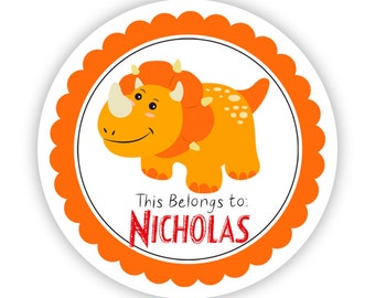 Personalized Name Stickers - Friendly Red Orange Dino, Prehistoric Dinosaur Name Tag Stickers - Round Labels - Back to School Name Stickers