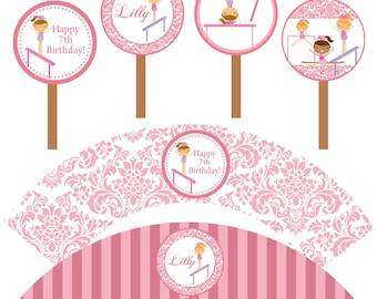 Gymnastic Cupcake Party Set - Pastel Pink Damask Girl Gymnast Personalized Birthday Cupcake Wrapper and Toppers - A Digital Printable File