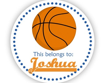 Name Label Stickers - Blue Orange, Sport Basektball Personalized Name Tag Stickers - 2 inch Round Sticker Tags - Back to School Name Labels