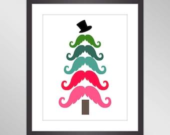 Christmas Printable Wall Art - Pink Teal Turquoise Christmas Tree Mustache, Winter Poster, Holiday Home Decor - Digital Printable Art Print