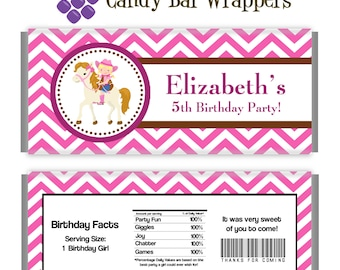 Cowgirl Candy Wrapper - Fun Pink Chevron Girl Cowgirl and Horse Personalized Birthday Party Favor Candy Bar Wraps - A Digital Printable File
