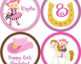 Cowgirl Party Circles - Pink Brown Western Cowgirl, Cowboy Hat, Horse Shoe Personalized Birthday Party Circles - A Digital Printable File