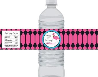 Flamingo Bottle Wrap - Hot Pink and Black Geometric Shape, Fun Retro Flamingo Personalized Party Bottle Label Favor - Digital Printable File