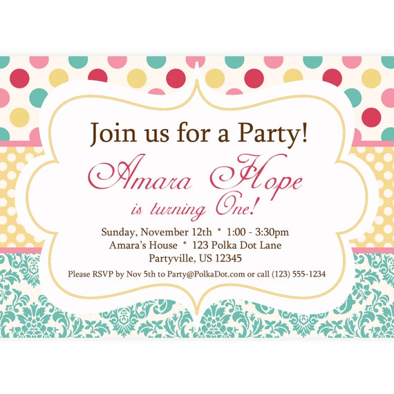 polka dot invitation turquoise pink red and yellow polka etsy