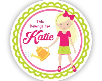 Personalized Name Stickers - Lime Green Pink Garden Sticker, Girl Gardener Name Label Sticker Tags - Back to School - This Belongs To Labels