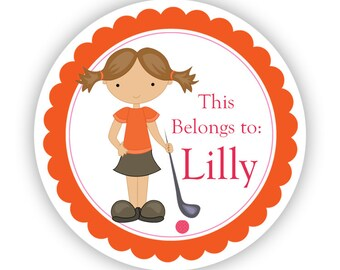 Name Label Stickers - Orange and Pink Girl Golfer Personalized Name Tag Stickers - Golf Name Round Labels - Perfect Back to School Labels