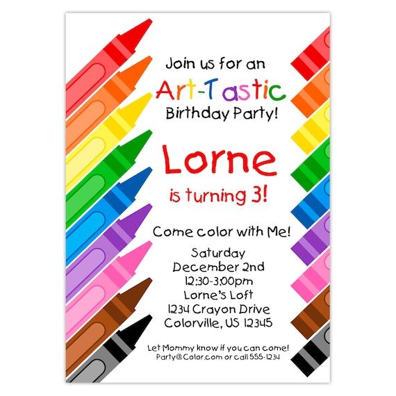 Embroma la invitación de la fiesta de arte lápices de   Etsy