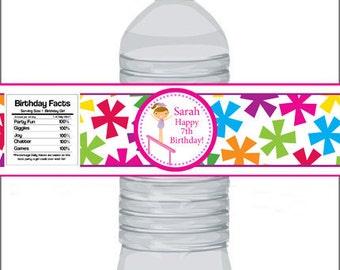 Gymnastic Bottle Wrap - Bright Colorful Stars Girl Gymnast Bottle Label - a Digital Printable File