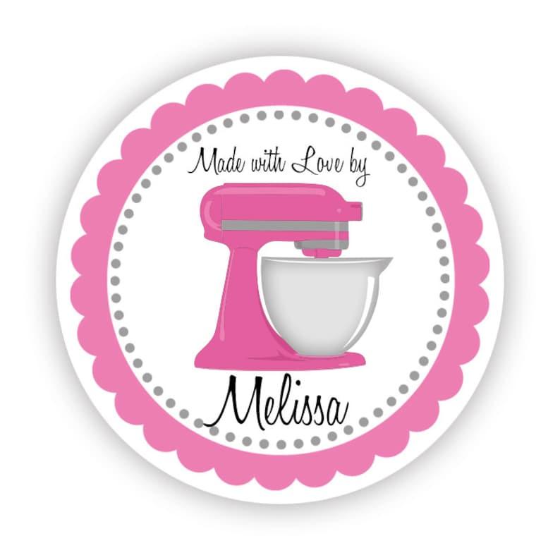 Kitchen Stickers  Cute Hot Pink Grey Kitchenaid Mixer Food image 0