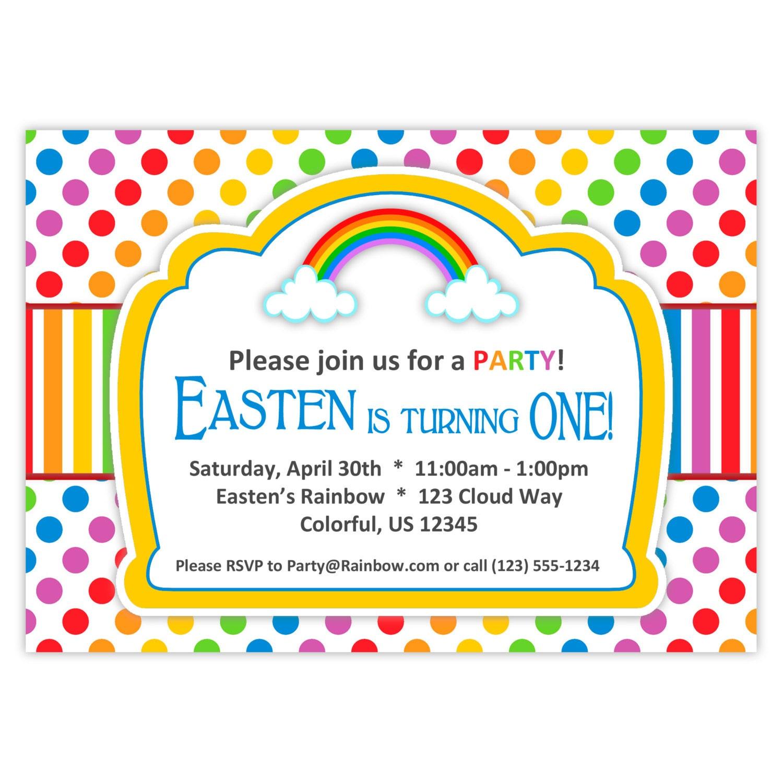 Invitación del arco iris arco iris colores lunares rayas n | Etsy