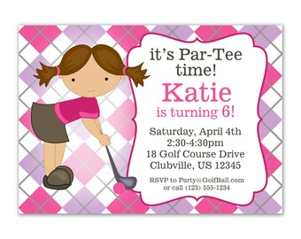 Golf Invitation - Purple and Pink Argyle Plaid with Cute Girl Golfer Personalized Birthday Party Invite - a Digital Printable File