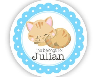 Cat Label Stickers - Blue Kitten Stickers, Orange Tabby Cat Name Tag, Kitten Personalized Name Label Stickers - Back to School Name Labels