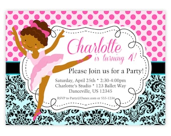 Ballet Invitation - Black n Turquoise Damask, Pink Polka Dots, Girl Ballerina Personalized Birthday Party Invite - a Digital Printable File