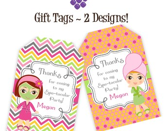 Spa Party Gift Tags - Pink, Orange Chevron and Polka Dots, Little Spa Girls Personalized Birthday Party Gift Tags - A Digital Printable File