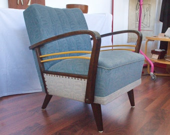 Vintage armchair in blue & grey with wooden armrests   50s #2