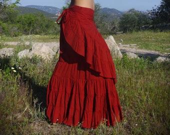 Flamenco Red Long Skirt, Elven Skirt, Dancing Skirt, Faerie Skirt, Gypsy Skirt, Nomadic Skirt, Burlesque Skirt, Bohemian Maxi Skirt
