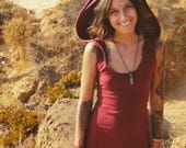 Fairy Hood Dress, Pixie Dress, Hood Top, Faerie Hoodie, Boho Dress, Steampunk Dress, Party Dress, Tribal Dress, Goa Clothing, Gypsy Dress