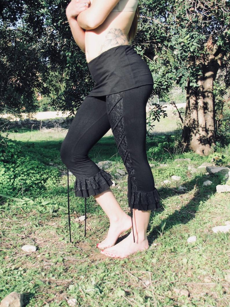 3e19cd3811ba9 Black Pixie Leggings Gothic Leggings Flared Leggings Yoga   Etsy