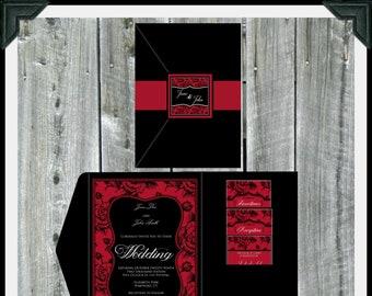 Vintage Rose Pocketfold Wedding Invitation Suite