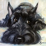 """PRINT Scottish Terrier Scottie Dog """"Mischief"""" brindle black scotty puppy/ Mary Sparrow unstretched and rolled"""