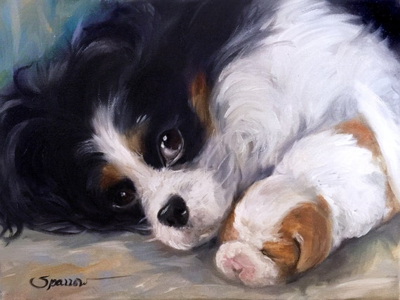 Dog//Animal Cavalier King Charles Spaniel 2 Needlepoint Kit or Canvas