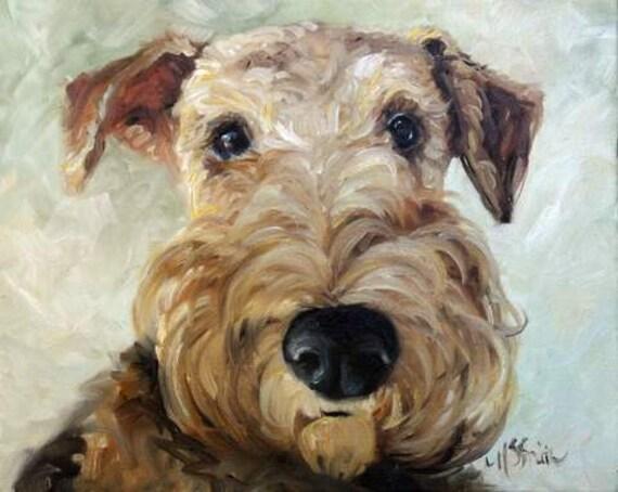 MARY SPARROW  Airedale Terrier Dog Art PRINT Beach Water Sumer Ocean