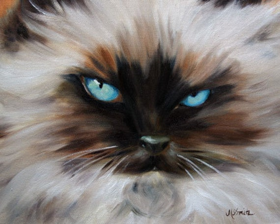 PRINT Himalayan Cat Eyes Kitten Art Oil Painting Home Decor / | Etsy