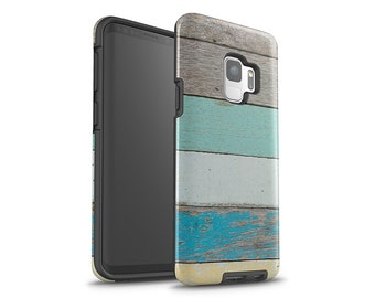 Galaxy S7 Case, Galaxy S8 Case, Galaxy S8 Plus Case, Samsung Galaxy, Beach Wood, Turquoise, Galaxy S9 Case, Galaxy S9 Plus, Phone Case, Wood