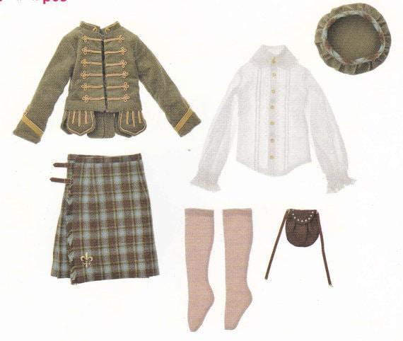 6060 MSD BJD Unoa Doll Boy Scottish Highland Dress Set Kilt Etsy Stunning Sporran Pattern