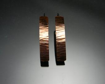 Hammered Copper Dangle Earrings, Modern Copper Earrings, Long Earrings, Big Earrings, Copper and Silver Earrings