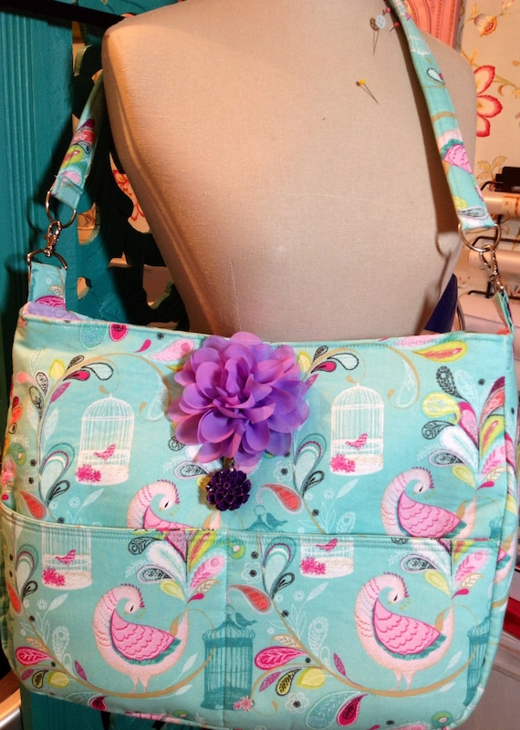 Peacock pink and turquoise diaper bag for mom!