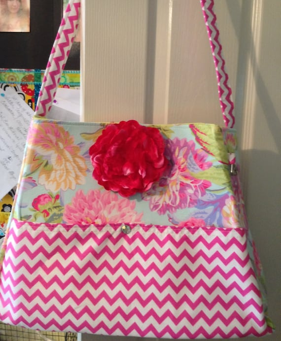 The Gorgeous Priscilla Purse, floral and pink chevron