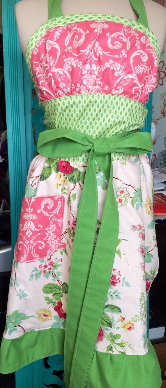 Shabby chic full Apron pattern by Lila Tueller, gorgeous designer fabrics