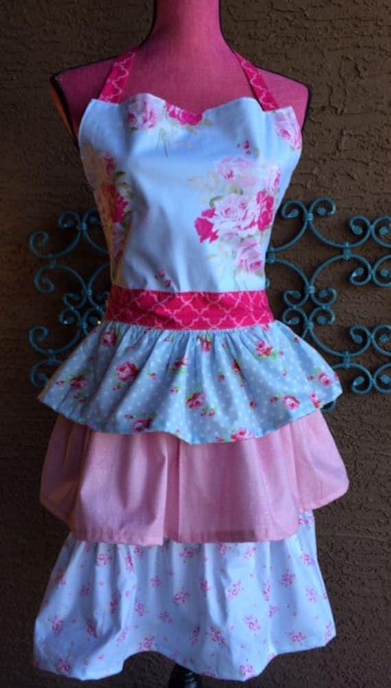 Shabby Chic Womans Ruffled Apron/ Child Matching Apron/Full size apron