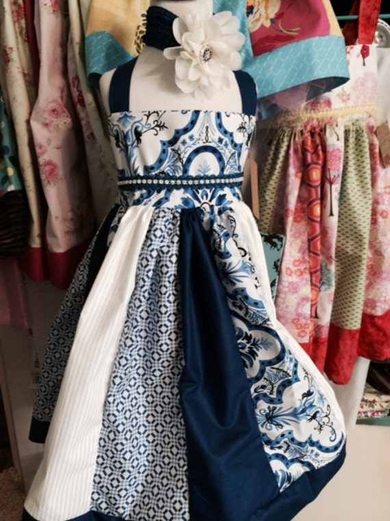Easter little girls Blue and White Dress/ Tea Party Dress, Girls Birthday Dress
