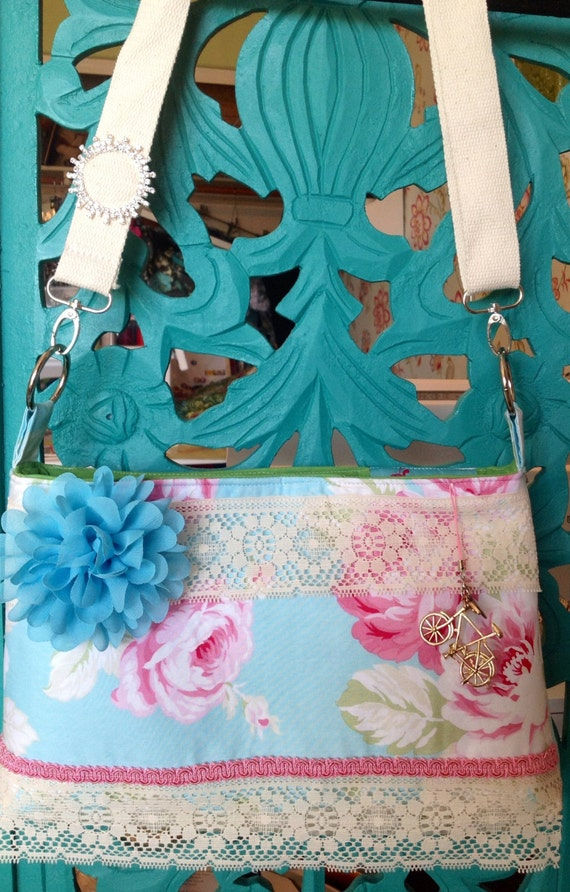Vintage inspired beautiful shabby chic rose and  lace Stella bag!