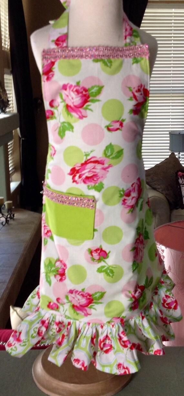 Shabby Chic Little Girls Full Size Apron./roses/polka dots