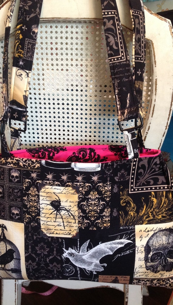 ALMOST GONE!!Holy skull, adorable punk gothic bag/skull fabric