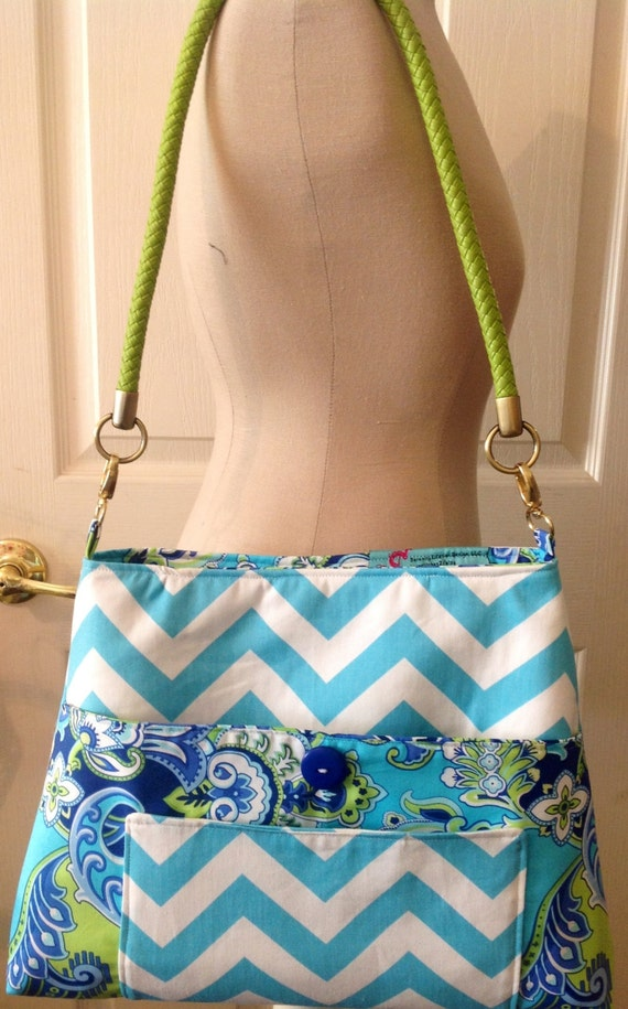 Blue Chevron Strip Adorable Purse with Leather Handles