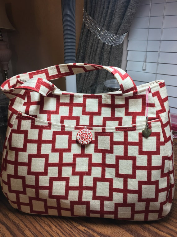 Red Geometric Linen Shoulder Purse