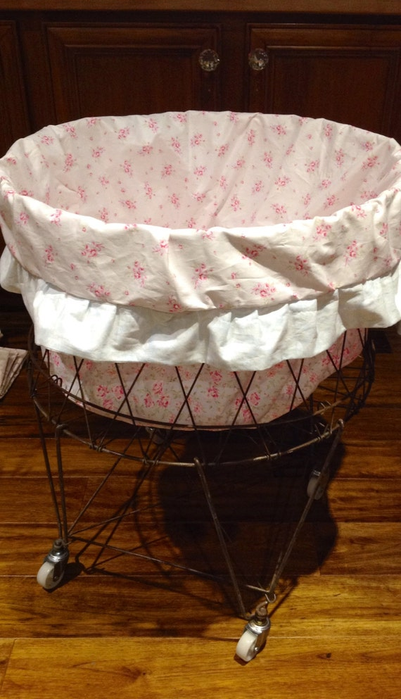Shabby Chic Laundry Basket Liner!/ Rachel Ashwell Fabric Basket Liner