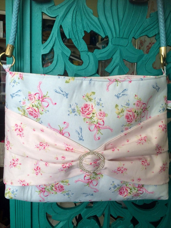 Shabby Chic pink and blue floral Betsy Bag